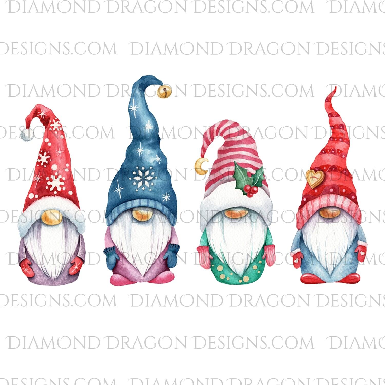 Christmas - 4 Cute Christmas Gnomes, Waterslide