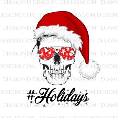 Christmas - Christmas Skull, Santa Hat, Messy Bun, #Holidays, Digital Image