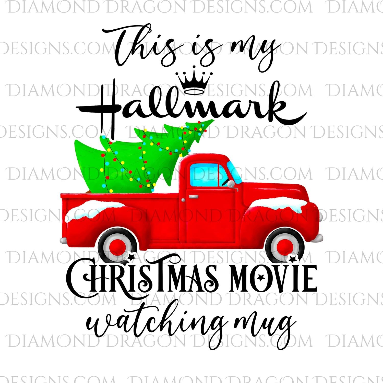 Christmas - Red Truck, Christmas Tree, Hallmark Christmas Movie Watching Mug, Red Vintage Truck 2, Waterslide