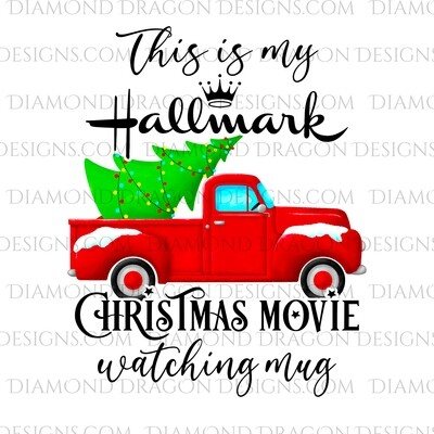 Christmas - Red Truck, Christmas Tree, Hallmark Christmas Movie Watching Mug, Red Vintage Truck 2, Waterslide