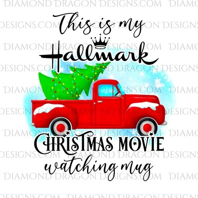Christmas - Red Truck, Christmas Tree, Hallmark Christmas Movie Watching Mug, Red Vintage Truck 3, Waterslide