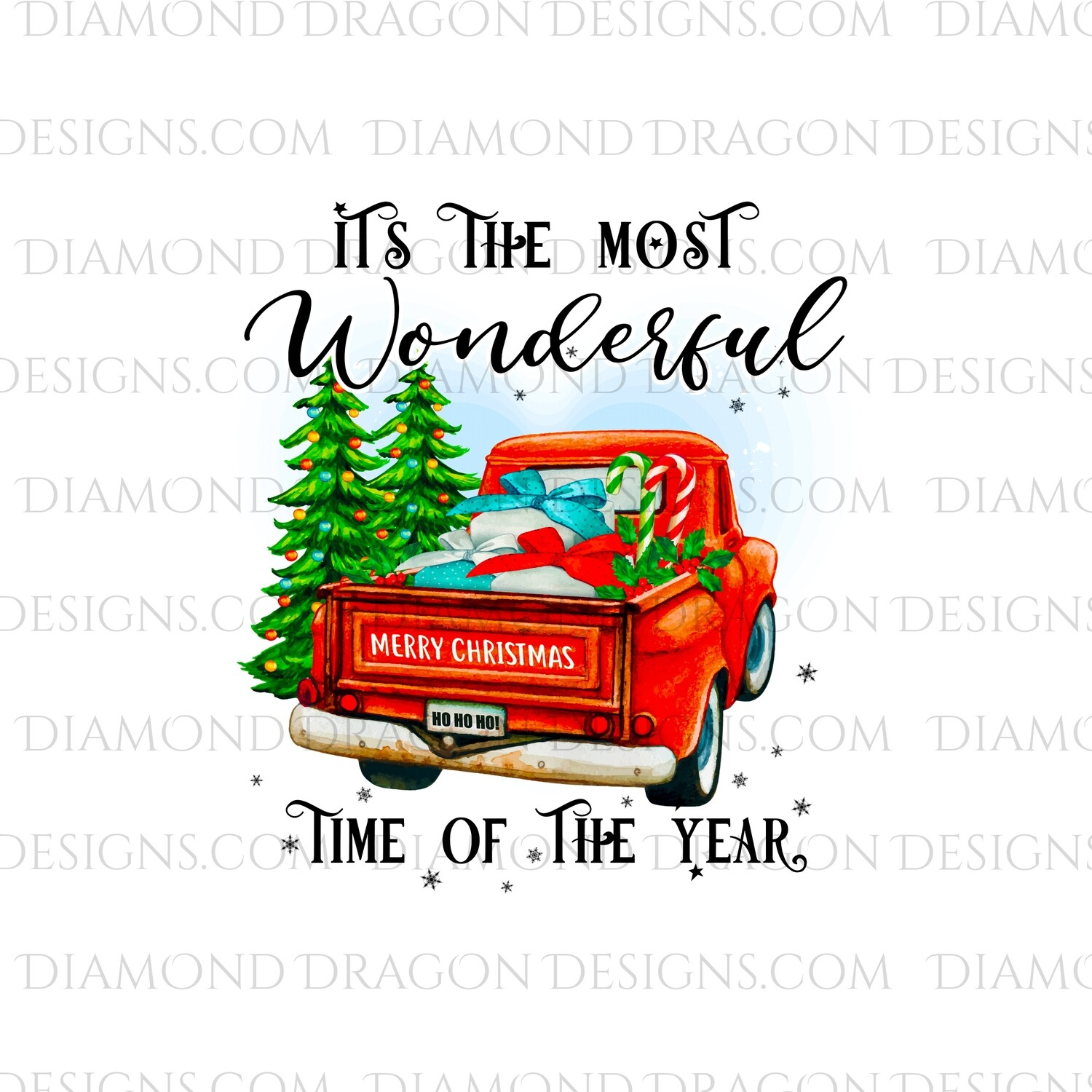 Christmas - Red Truck, Christmas Tree, It's the most wonderful time, Red Vintage Truck 5, Waterslide
