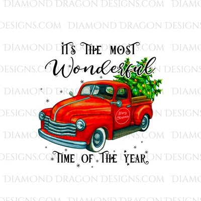Christmas - Red Truck, Christmas Tree, It's the most wonderful time, Red Vintage Truck 6, Waterslide