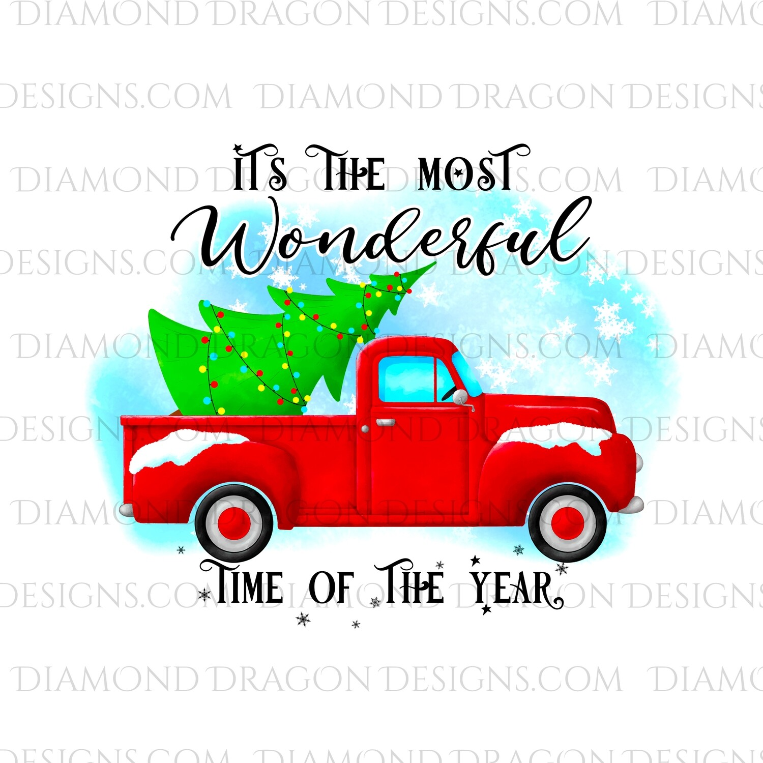 Christmas - Red Truck, Christmas Tree, It's the most wonderful time, Red Vintage Truck 7, Waterslide