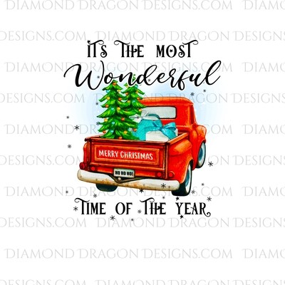 Christmas - Red Truck, Christmas Tree, It's the most wonderful time, Red Vintage Truck 8, Waterslide
