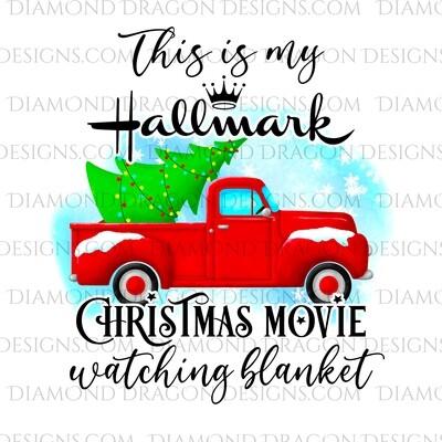 Christmas - Red Truck, Christmas Tree, Hallmark Christmas Movie Watching Blanket, Red Vintage Truck, Digital Image
