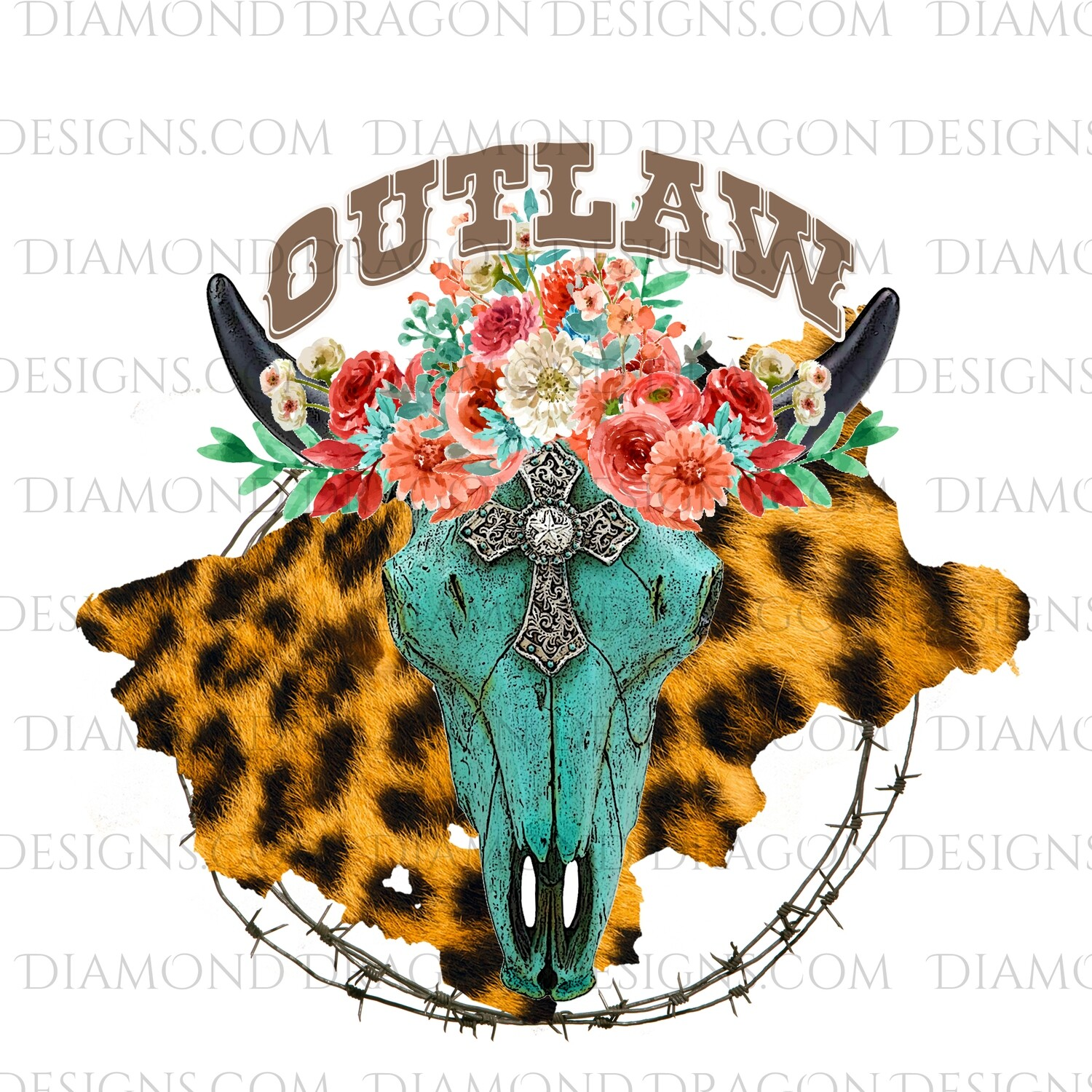 Western - Turquoise Cow Skull, Floral, Outlaw, Waterslide