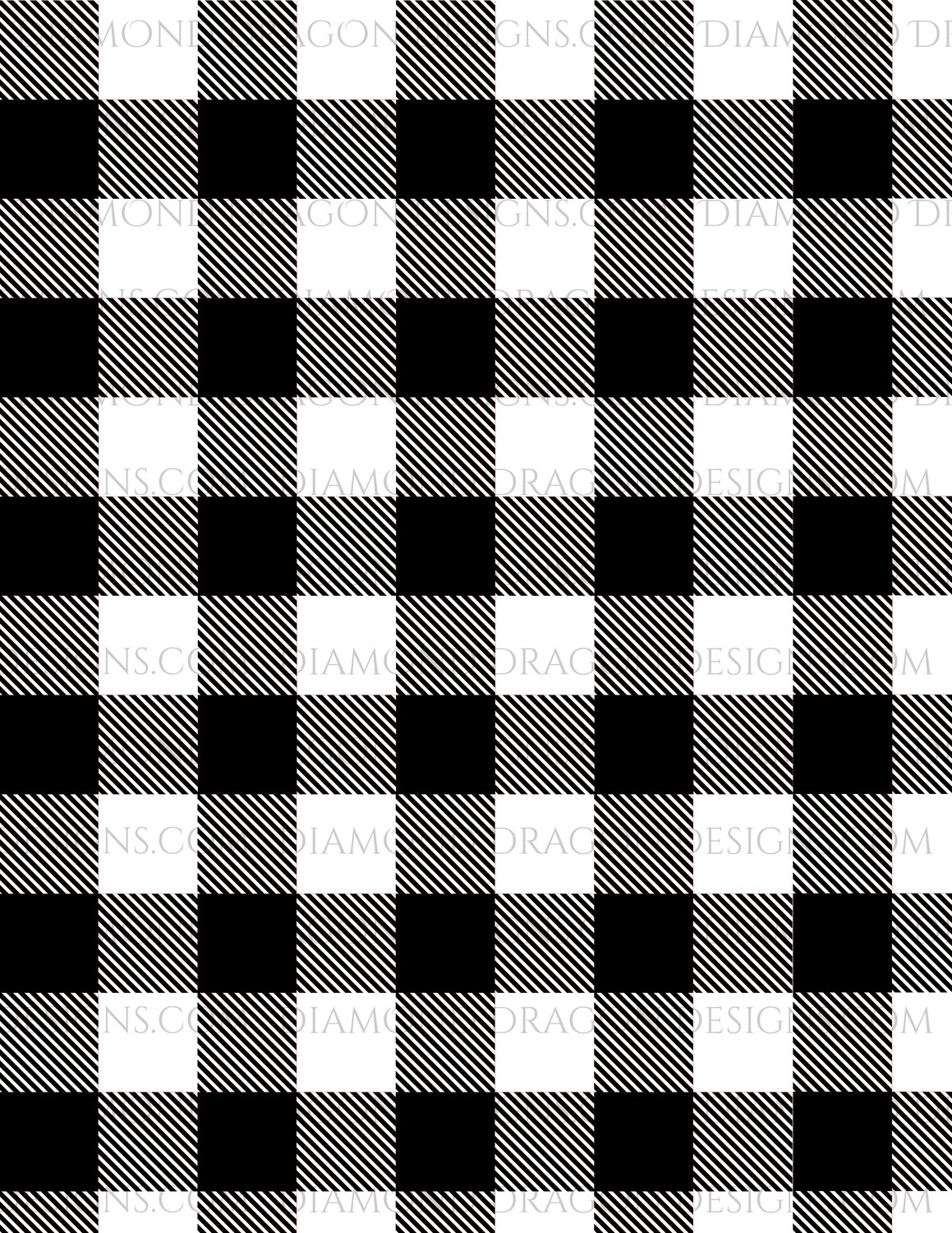 Full Page -  Buffalo Plaid, Black and White, Full Page Design - Waterslide