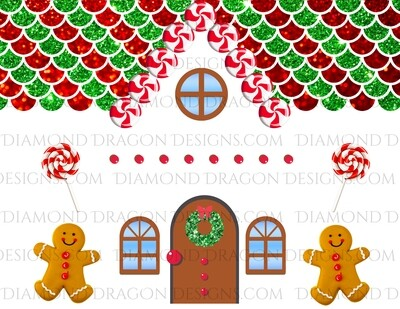 Christmas - Full Page Gingerbread House, Make Your Own Gingerbread Tumbler, Digital Image
