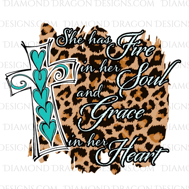 Faith - Fire in Her Soul, Cross, Leopard Print, Digital Image