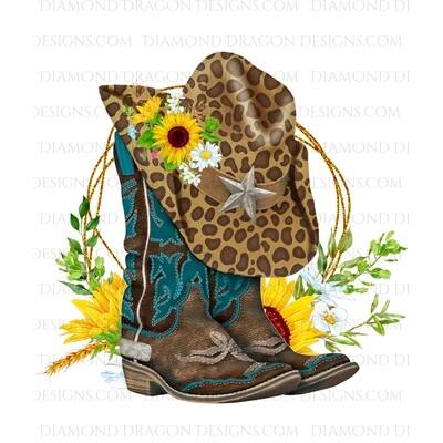 Western - Turquoise Boots, Leopard Hat, Sunflower Floral, Digital Image