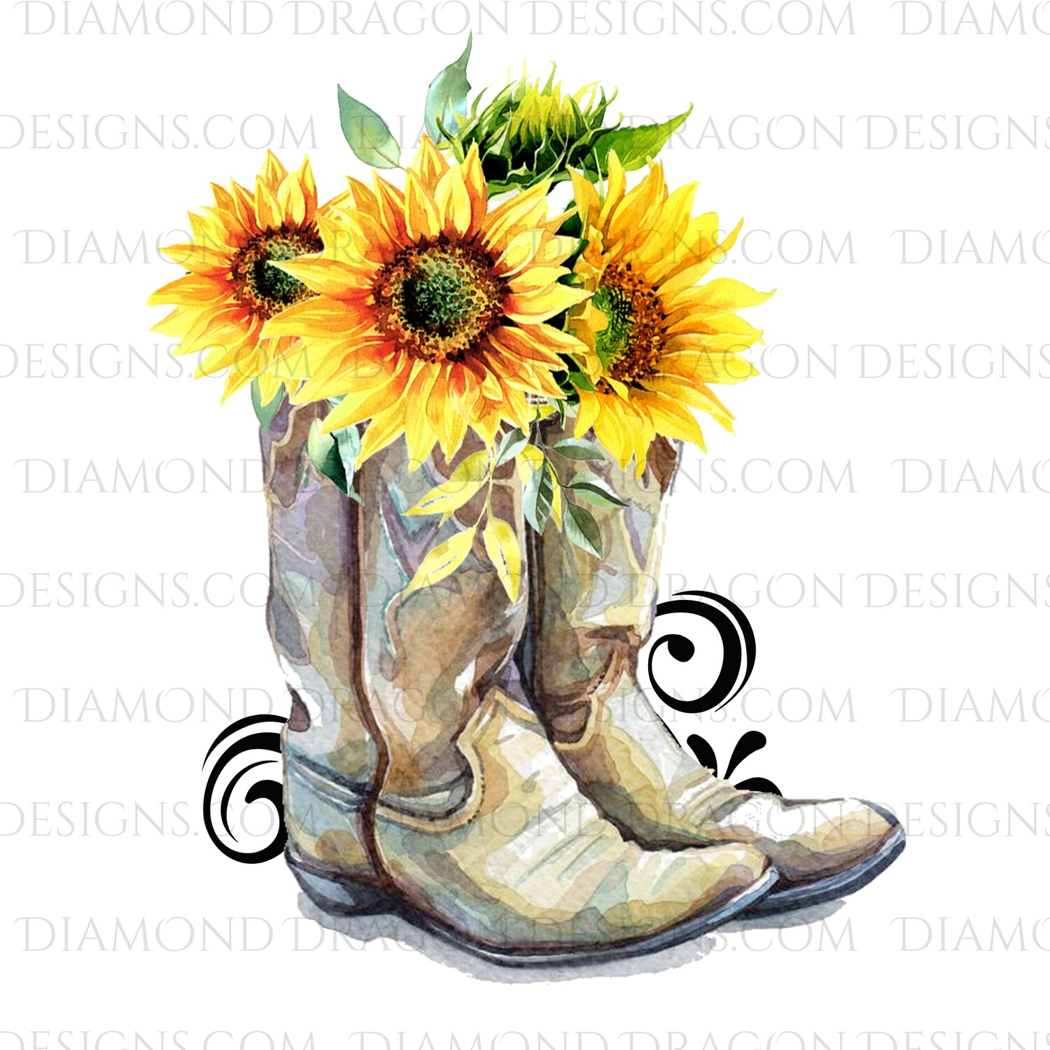 Western - Cowboy Boots, Sunflower Floral, Digital Image