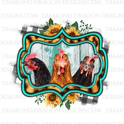 Western - Chicken, Sunflower, Leopard, Plaid, Digital Image