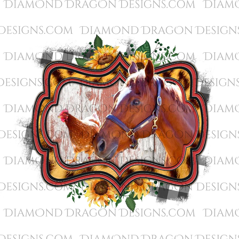 Western - Chicken, Horse, Sunflower, Leopard, Plaid, Digital Image