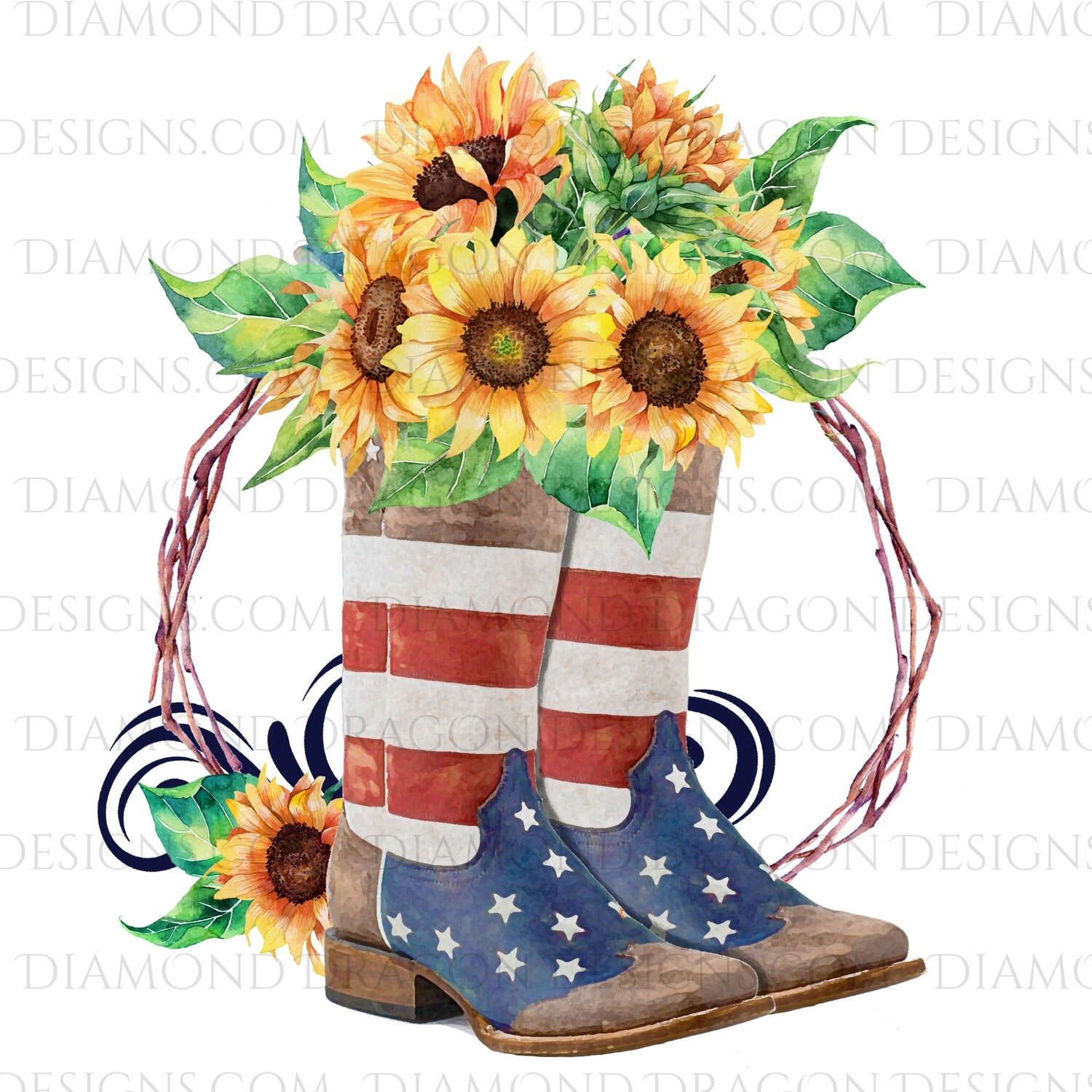 Western - Flag Boots, Sunflower Floral, Waterslide