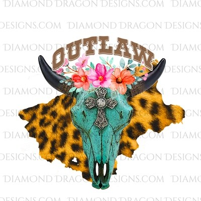 Western - Turquoise Cow Skull, Floral, Outlaw, Digital Image
