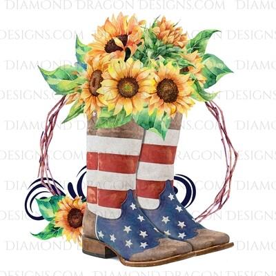 Western - Flag Boots, Sunflower Floral, Digital Image