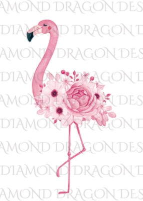 Flamingos - Watercolor Floral Flamingo, No Flower Crown Flamingo, Watercolor Flamingo, Digital Image