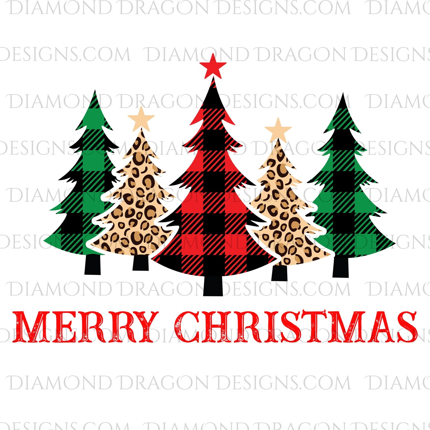 Christmas -  Plaid, Leopard Christmas Trees, Merry Christmas, Digital Image