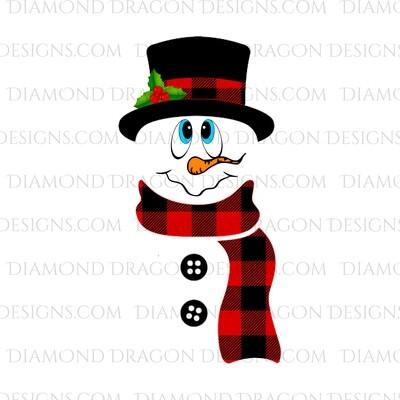 Christmas -  Snowman, Plaid Scarf and Hat, Digital Image