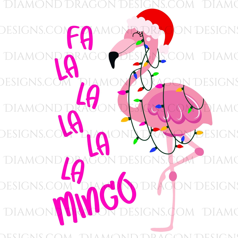 Christmas -  Fa La La Mingo, Lights Flamingo, Digital Image