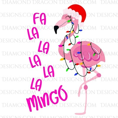 Christmas -  Fa La La Mingo, Lights Flamingo, Digital Image