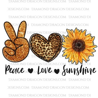 Sunflower - Peace Love Sunshine, Leopard Print, Sunflower, Waterslide