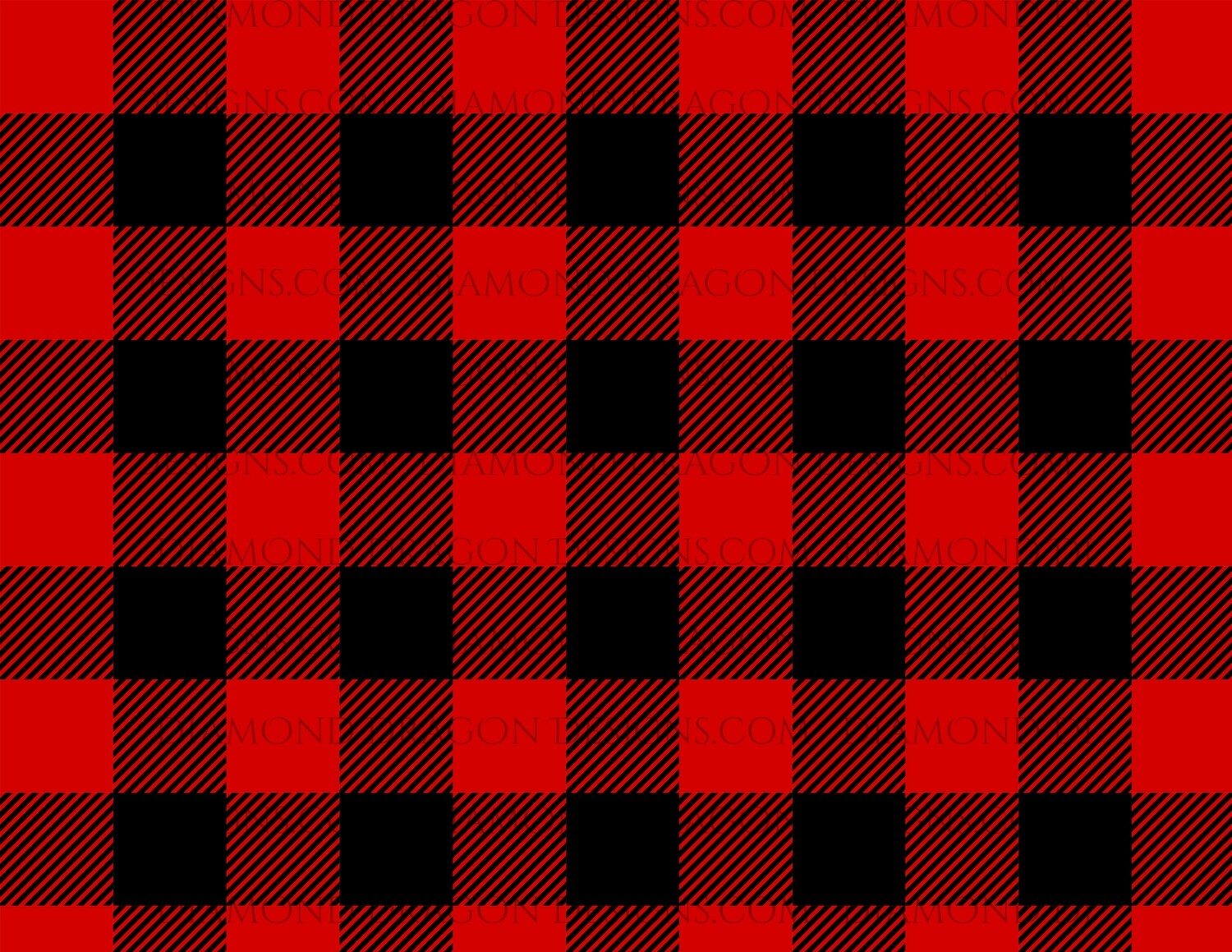 Full Page -  Red Buffalo Plaid, Black and Red, Full Page Design, Digital Image