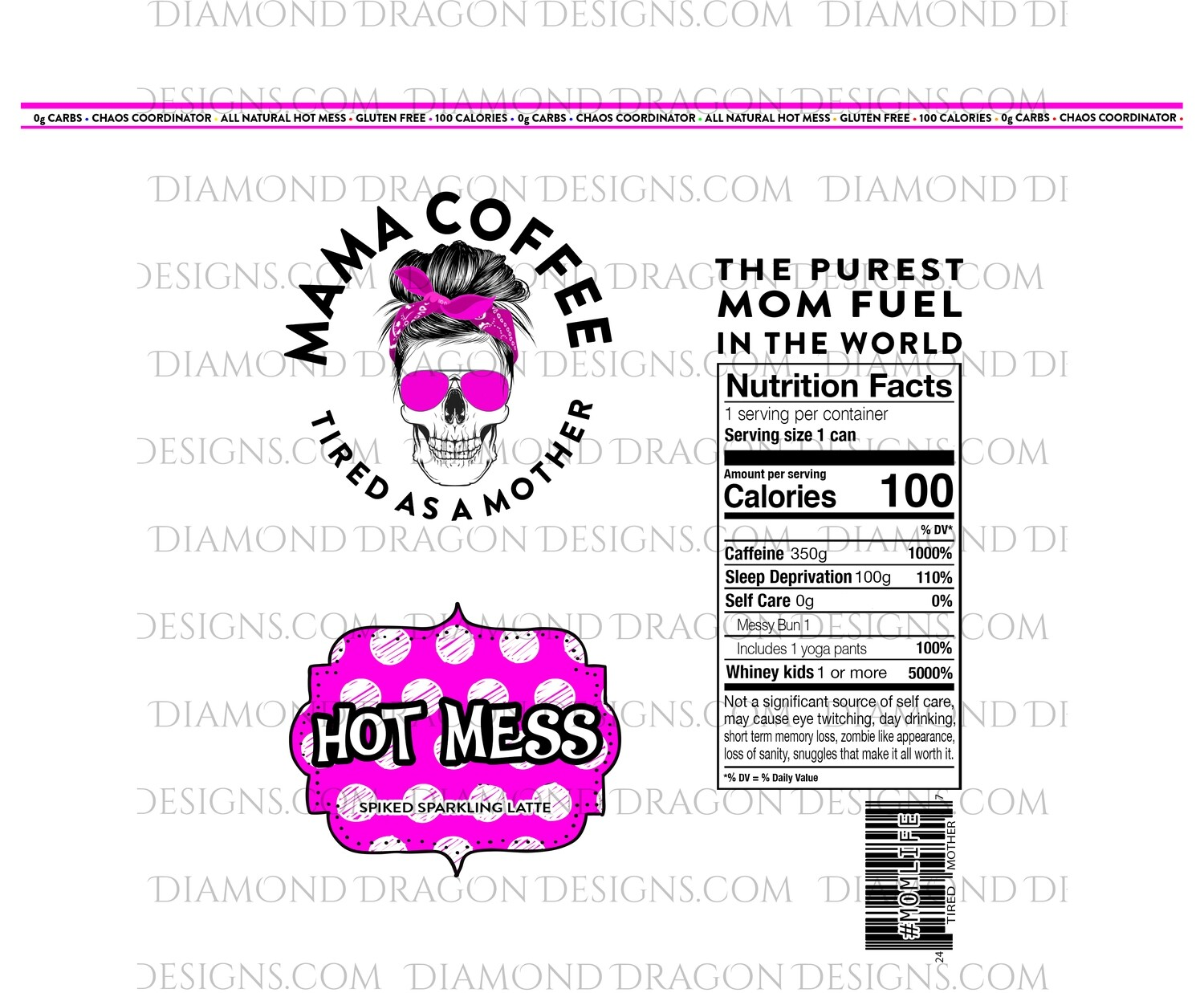 Drinks - Mama Coffee, Hot Pink, Hot Mess, Spiked Sparkling Latte, Digital Image