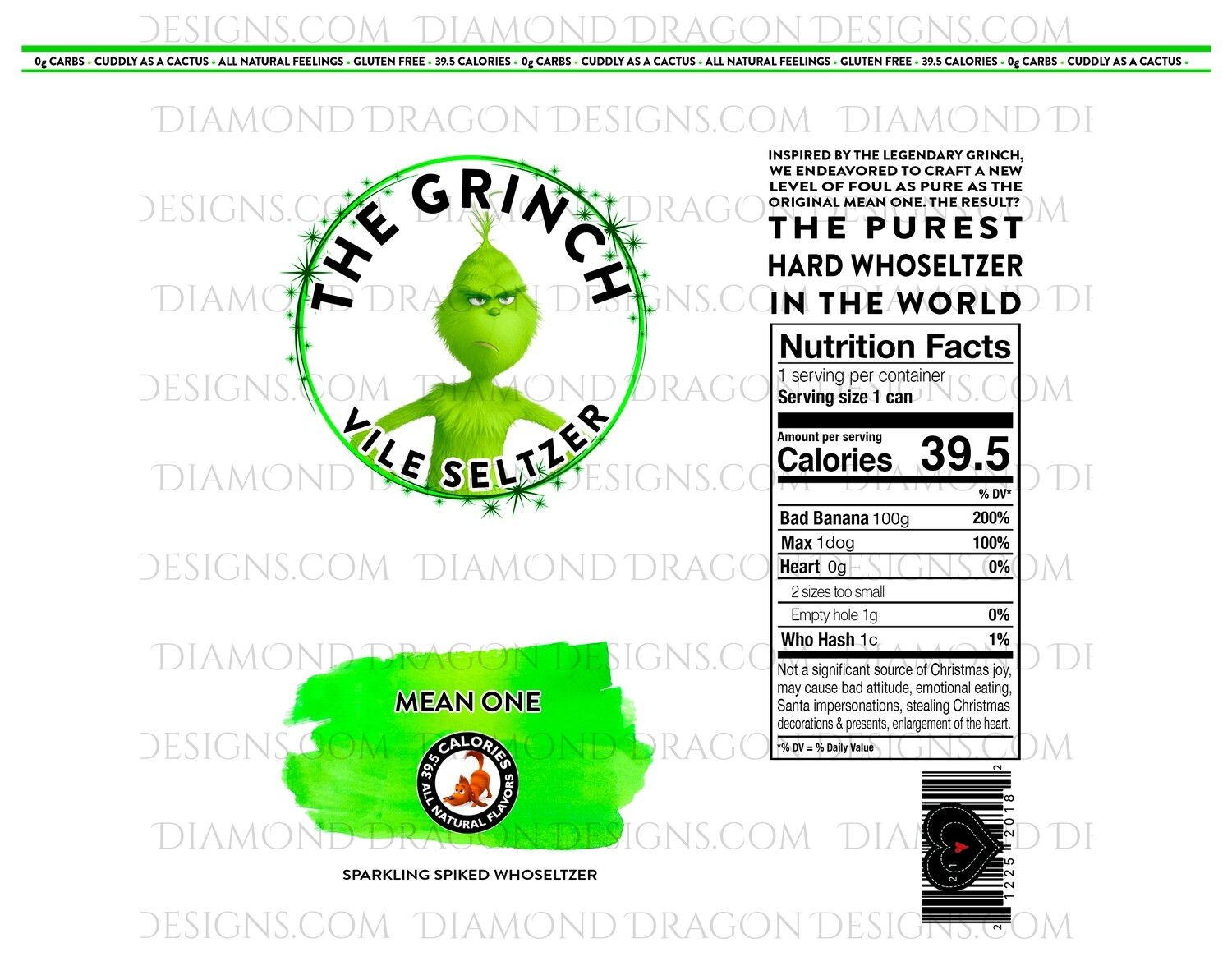 Christmas - New Grinch Inspired Hard Seltzer, Who Hard Seltzer, Prints for 2 Tumblers, Waterslide