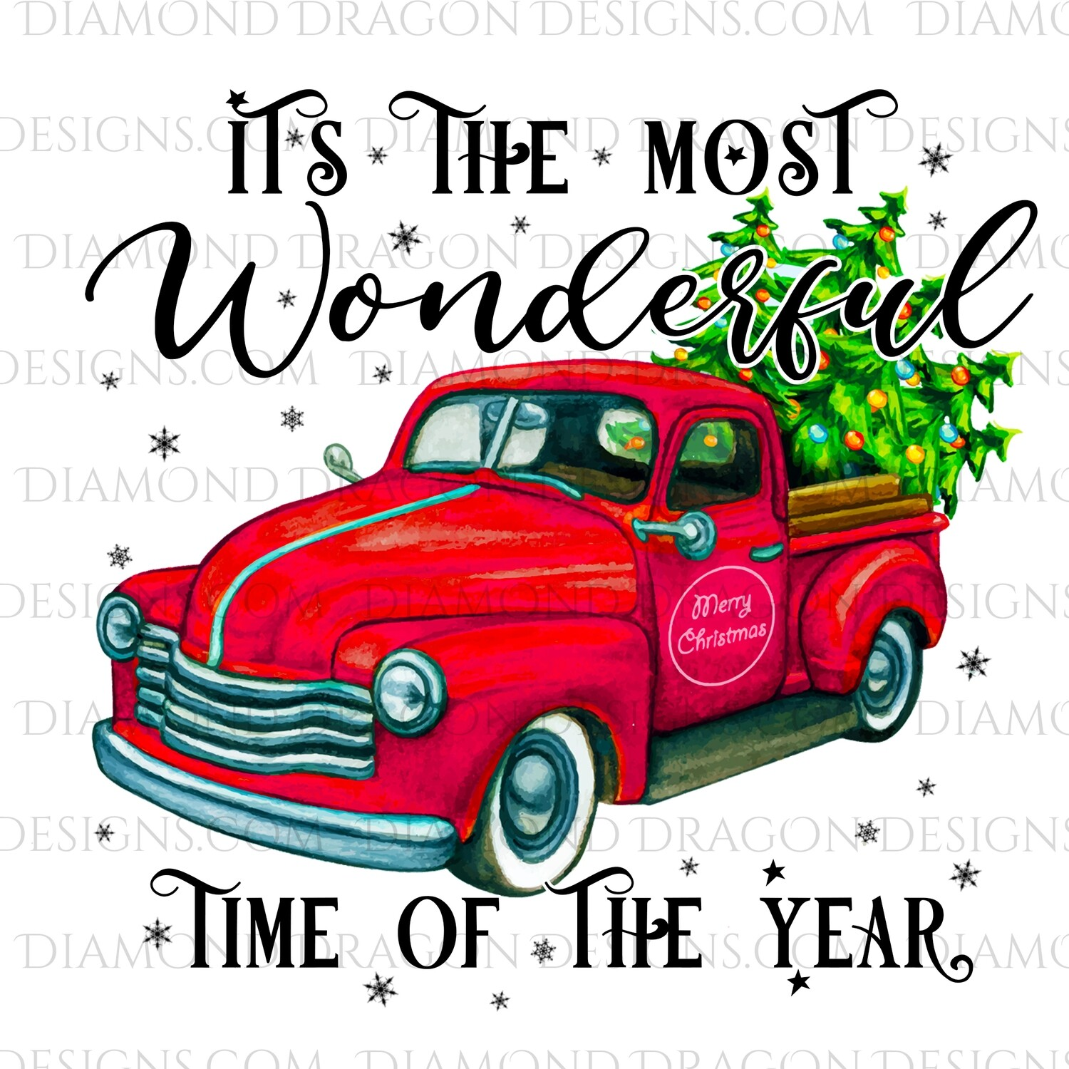 Christmas - Red Truck, Christmas Tree, It's the most wonderful time, Red Vintage Truck 9, Waterslide
