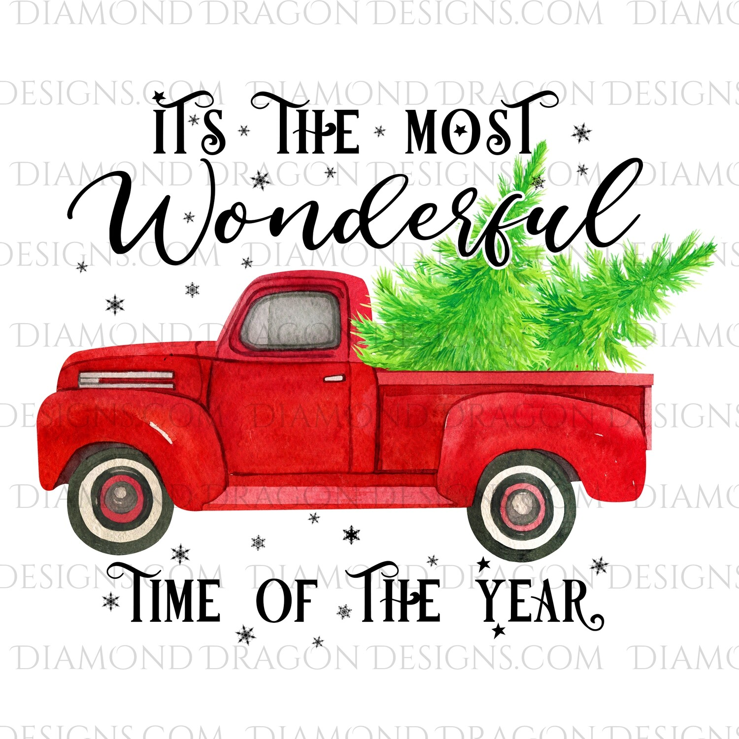 Christmas - Red Truck, Christmas Tree, It's the most wonderful time, Red Vintage Truck, Digital Image