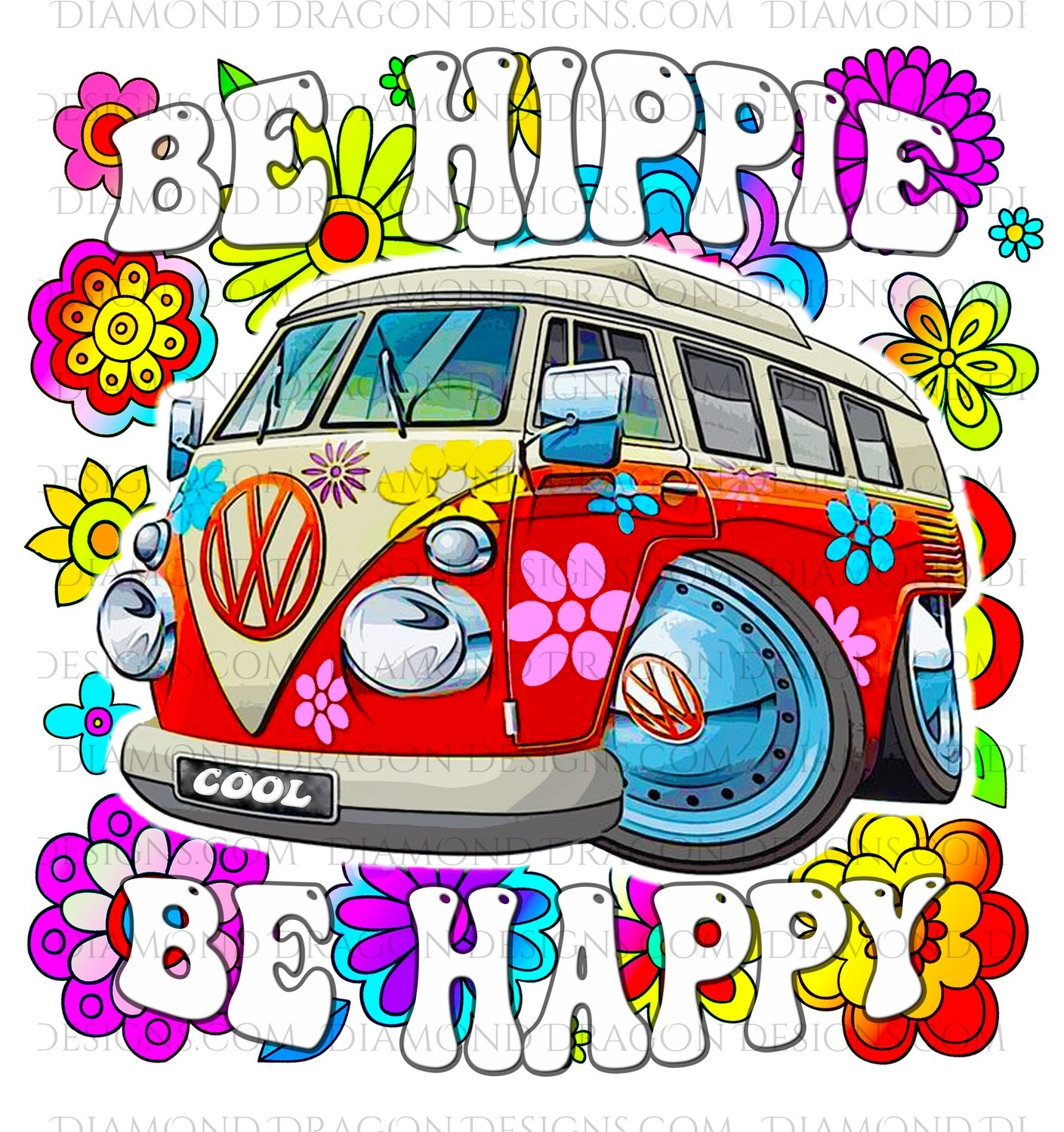 Quotes - Be Hippie, Be Happy, 70s, VW Bus, Retro Red, Digital Image