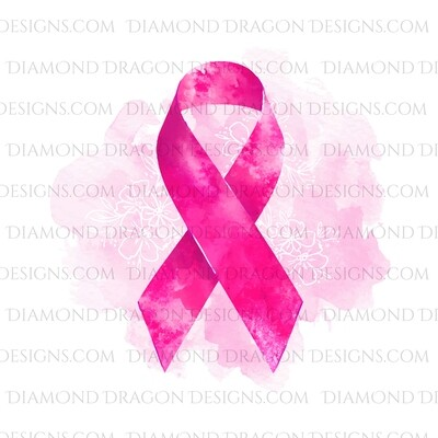 Awareness - Pink Watercolor, Breast Cancer Awareness, Support, Ribbon, Floral, Waterslide
