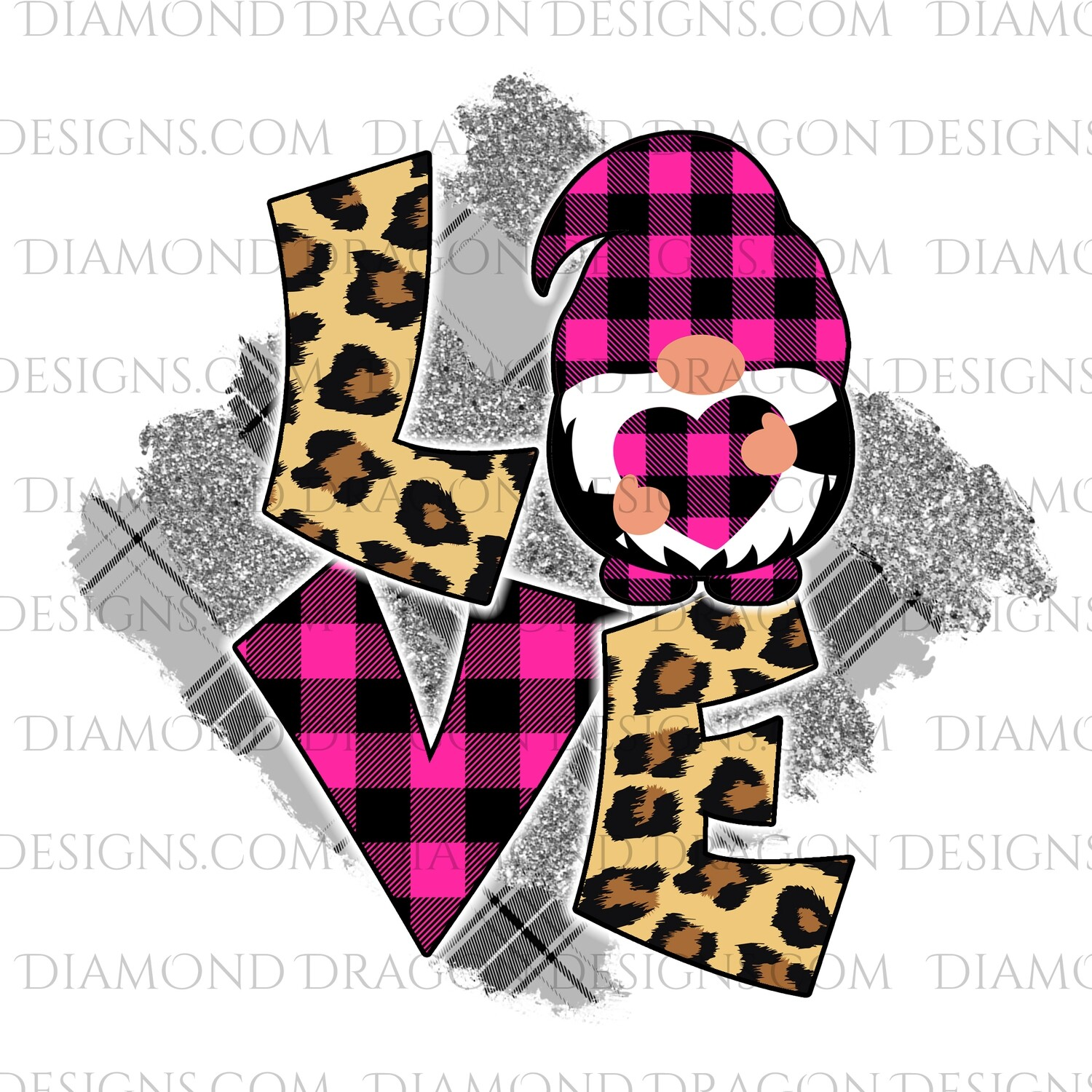 Valentines - Love Gnome, Pink Plaid, Valentines Day, Gnomes, Waterslide