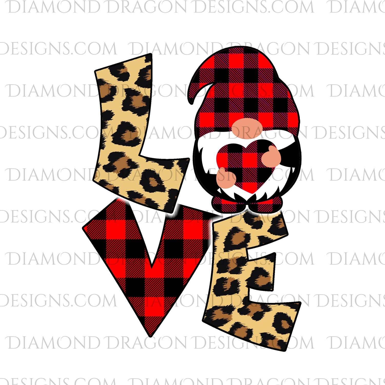 Valentines - Love Gnome, Red Plaid, Leopard, Valentine's Day, Best Friends, Quote, Gnomes, Digital Image