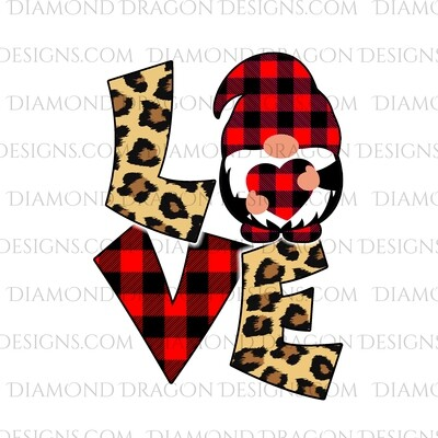 Valentines - Love Gnome, Red Plaid, Leopard, Valentine's Day, Best Friends, Quote, Gnomes, Digital Image