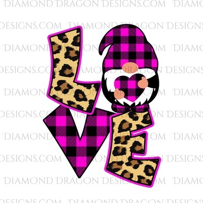 Valentines - Love Gnome, Pink Plaid, Leopard, Valentine's Day, Best Friends, Quote, Gnomes, Digital Image