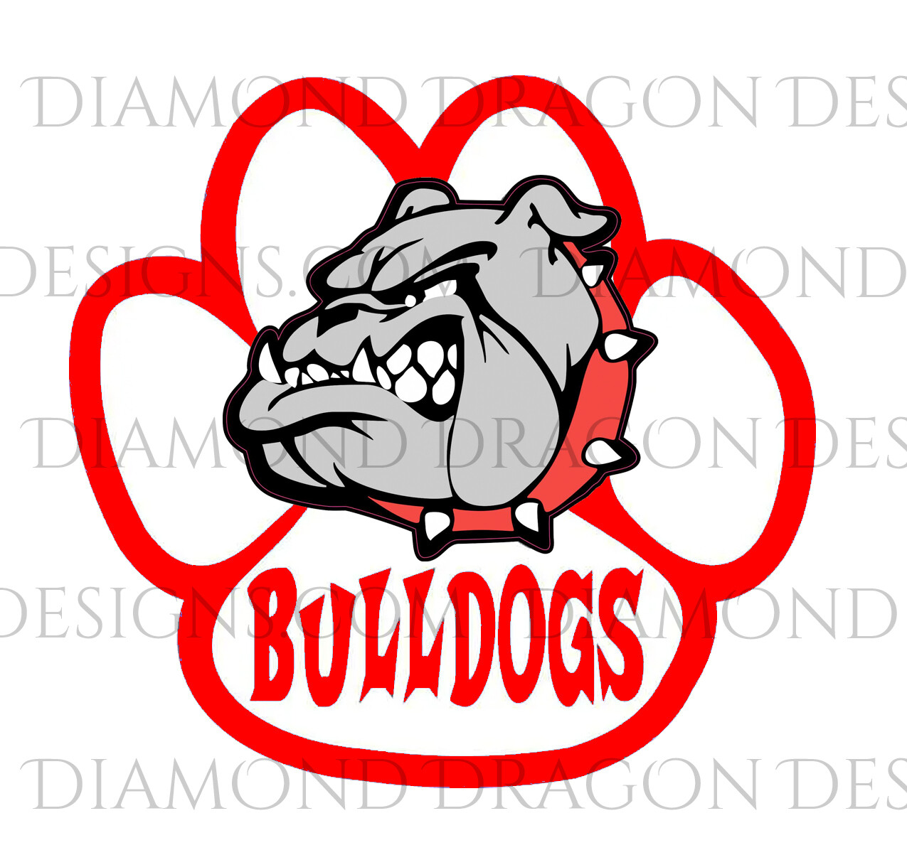 Sports - Bulldogs, Paw, Red, Waterslide