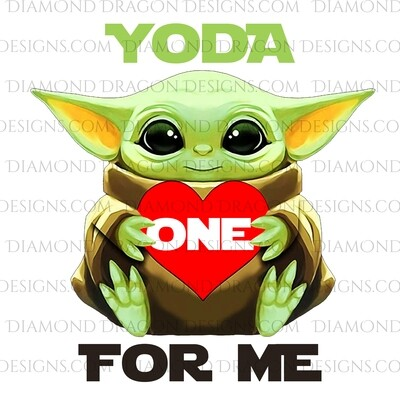 Valentines - Yoda One For Me, Red Heart, Valentine's Day, Digital Image
