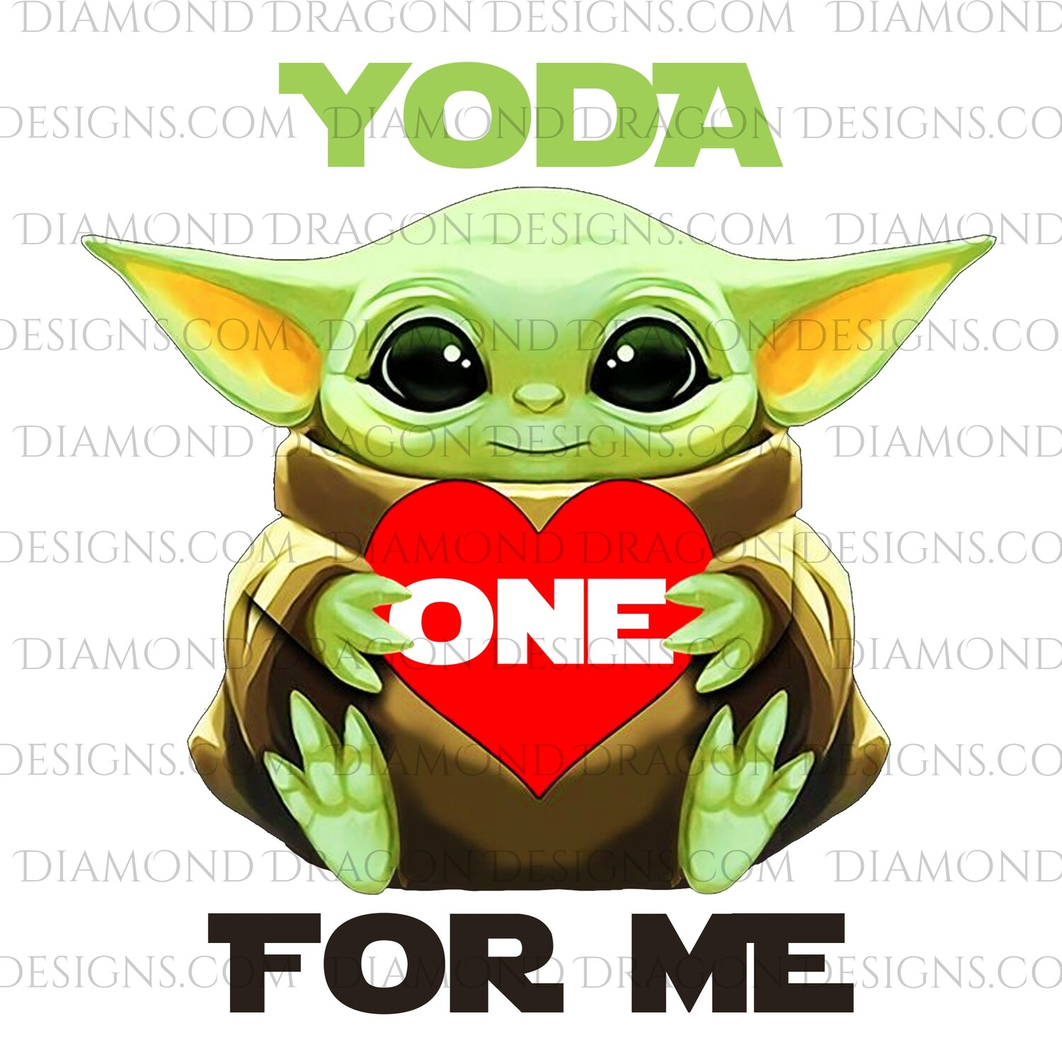 Valentines - Yoda One For Me, Red Heart, Valentine's Day, Waterslide
