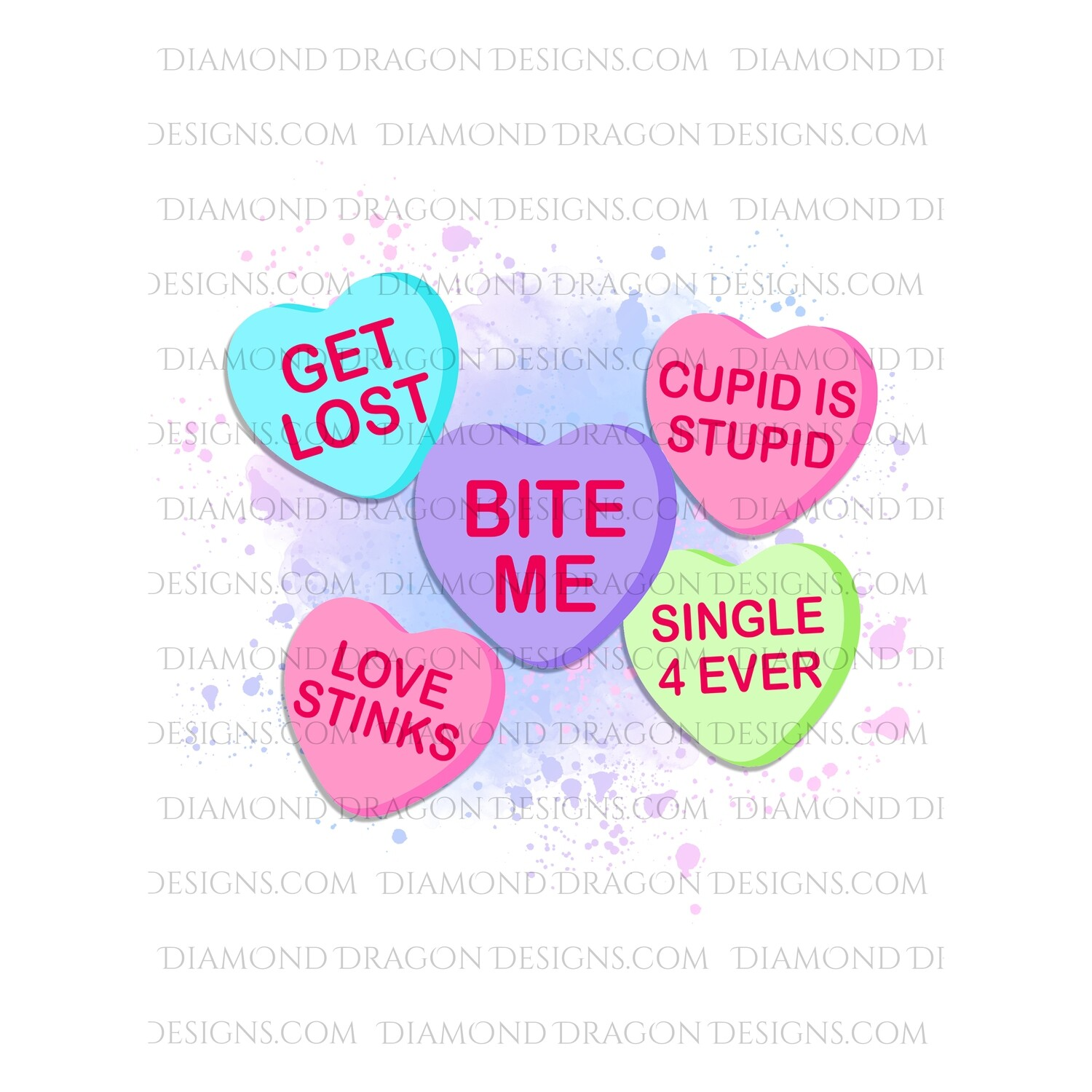 Valentines - Anti Valentines, Heart Candy Sayings, Sweethearts, Candy Hearts, Funny, Valentine's Day, Digital Image