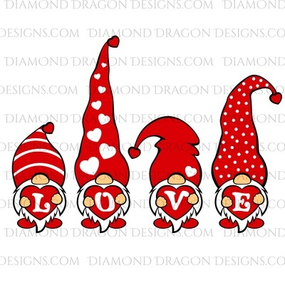 Valentines - Love Gnomess, Red Hearts, Valentine's Day, Gnomes, Digital Image