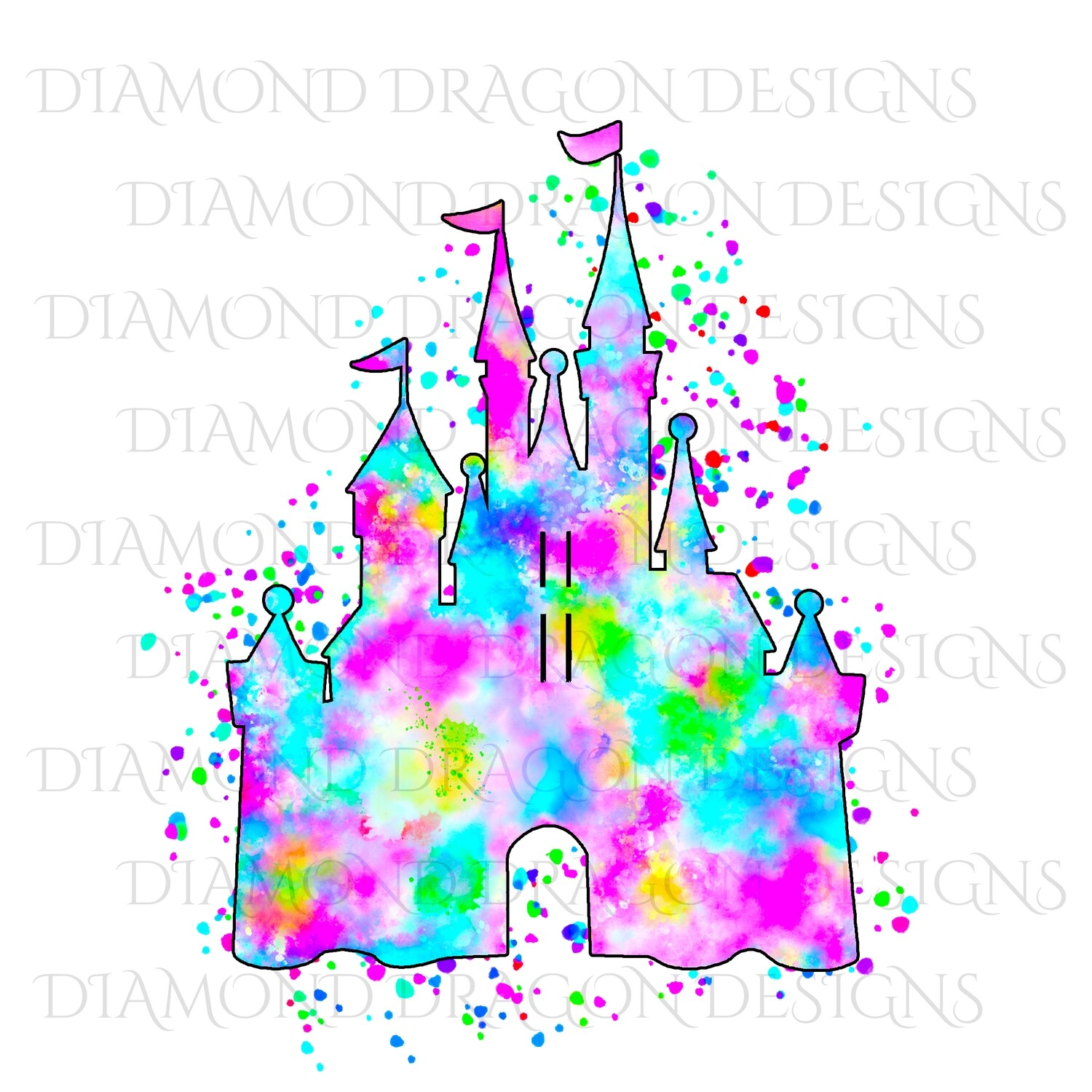 Characters - Magical Castle, Watercolor Rainbow Castle, Digital Image