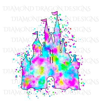 Characters - Magical Castle, Watercolor Rainbow Castle, Digital Image