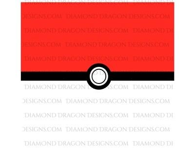 Characters - Pokeball Wrap, 20oz Straight, No Taper, Tumbler Wrap, Waterslide