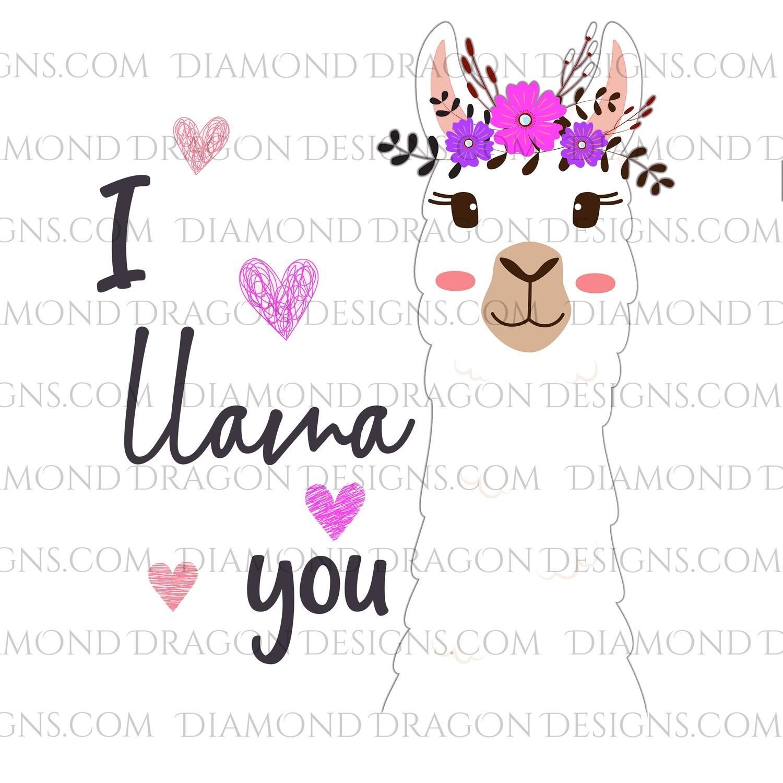 Valentines - I Llama You, Llama Floral Hearts, Valentine's Day, Digital Image