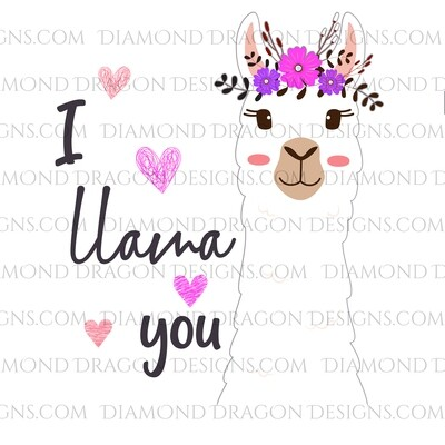 Valentines - I Llama You, Llama Floral Hearts, Valentine's Day, Digital Image