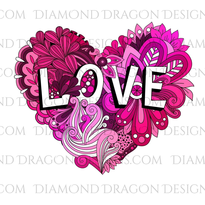 Valentines - LOVE, Doodle, Heart, Floral, Retro, Waterslide