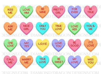 Valentines - Conversation Heart Candies, Sweethearts, Full Page, Waterslide